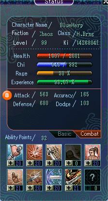 Character Status Window Combat